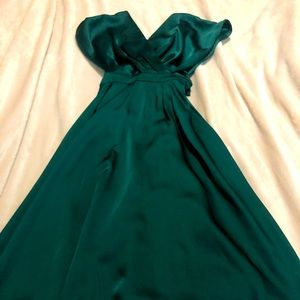 Cocktail dress by Lumière, coral green, satin material. Never before worn.